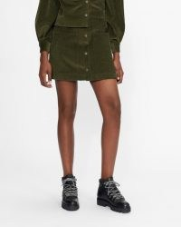 TED BAKER OMARAH Cord A-line mini skirt Khaki ~ green corduroy skirts