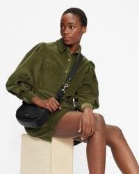 TED BAKER ONETAA Cord Boxy Shirt With Volume Sleeve Khaki ~ womens green corduroy puff sleeve shirts