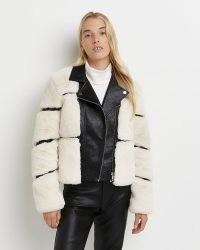 River Island Cream faux fur biker jacket – womens textured winter jackets