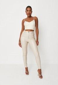 MISSGUIDED cream faux leather croc slim leg trousers – womens crocodile effect trousers