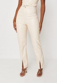MISSGUIDED cream faux leather split front straight leg trousers – luxe style slit hem pants