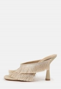 MISSGUIDED cream fringe double strap heeled mule sandals – fringed mules – glamorous going out heels