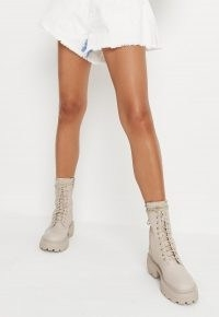 MISSGUIDED cream lace up chunky sole ankle boots – faux leather thick sole boots – womens on-trend footwear