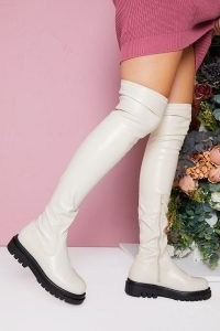 IN THE STYLE CREAM OVER KNEE PU LONG BOOT – faux leather contrast heel boots