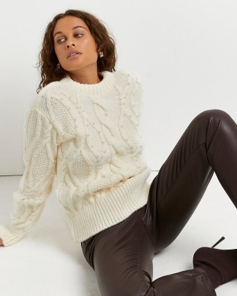 River Island Cream pearl embellished cable knit jumper   womens chunky jumpers   feminine knitwear - flipped
