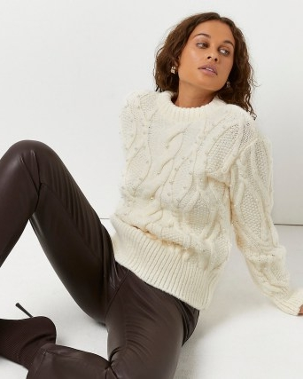 River Island Cream pearl embellished cable knit jumper   womens chunky jumpers   feminine knitwear