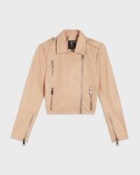 TED BAKER SSALLI Cropped leather biker jacket Camel ~ womens luxe light-brown zip detail jackets