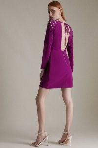 KAREN MILLEN Crystal Embellished Woven Bodycon Dress | open back occasion dresses