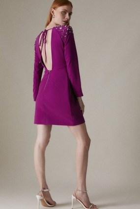 KAREN MILLEN Crystal Embellished Woven Bodycon Dress   open back occasion dresses - flipped
