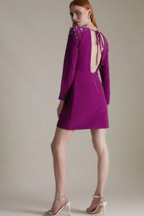 KAREN MILLEN Crystal Embellished Woven Bodycon Dress   open back occasion dresses