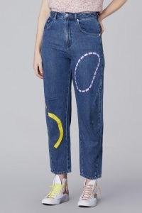 Ellen Rutt x Gorman CUT&PASTE JEAN   womens organic and recycled cotton blend jeans   women's sustainable printed blue denim