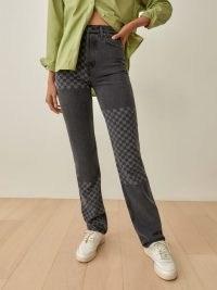 REFORMATION Cynthia Shadow Checked High Rise Straight Long Jeans in Seine Checkerboard / women's check print denim fashion