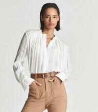 REISS DANNI SELF-STRIPE TEXTURED BLOUSE WHITE ~ feminine round neck blouses