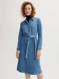 Jigsaw Denim Belted Midi Dress Light Blue
