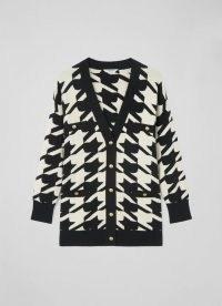 L.K. Bennett DIANA WHITE COTTON MIX CARDIGAN – womens monochrome pattern cardigans