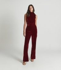Reiss DIANE SLEEVELESS VELVET JUMPSUIT RED – glamorous cut out back jumpsuits – luxe style evening fashion