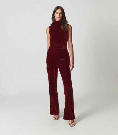 Reiss DIANE SLEEVELESS VELVET JUMPSUIT RED – glamorous cut out back jumpsuits – luxe style evening fashion - flipped