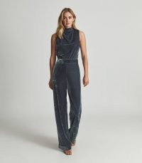 REISS DIANE VELVET JUMPSUIT SILVER – sleeveless high neck luxe style jumpsuits – glamorous evening fashion – womens glam all-in-one partywear