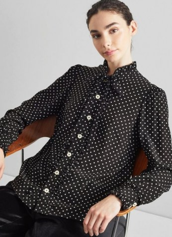 L.K. BENNETT DINA BLACK AND WHITE POLKA DOT SILK SHIRT / womens spot print frill trimmed shirts - flipped