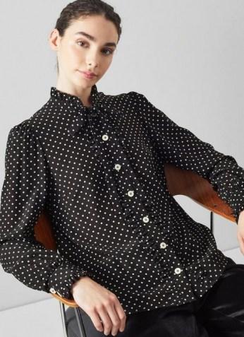 L.K. BENNETT DINA BLACK AND WHITE POLKA DOT SILK SHIRT / womens spot print frill trimmed shirts