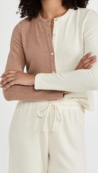 DONNI Duo Sweater Cardi in Creme/Camel ~ cream and light brown two tone cardigans ~ neutral knits
