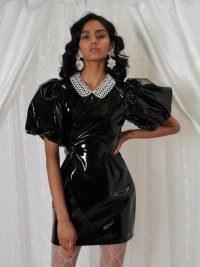 sister jane DREAM GRANDMA'S HOUSE Deary Vinyl Mini Dress | shiny black puff sleeve dresses