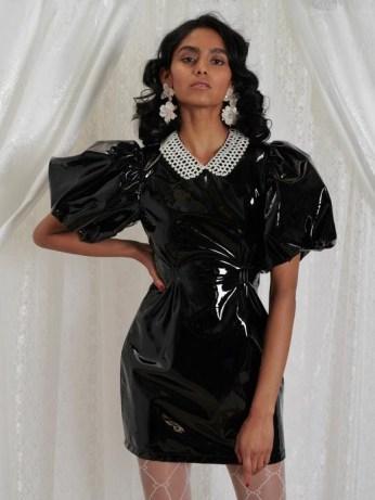 sister jane DREAM GRANDMA'S HOUSE Deary Vinyl Mini Dress | shiny black puff sleeve dresses - flipped