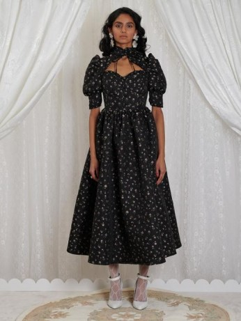 sister jane DREAM Agnes Jacquard Midi Dress   dresses from the GRANDMA'S HOUSE collection   pudd sleeve fit and flare - flipped