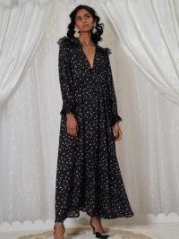 sister jane DREAM GRANDMA'S HOUSE Familiar Floral Maxi Dress Black / long floaty romantic lace trim dresses