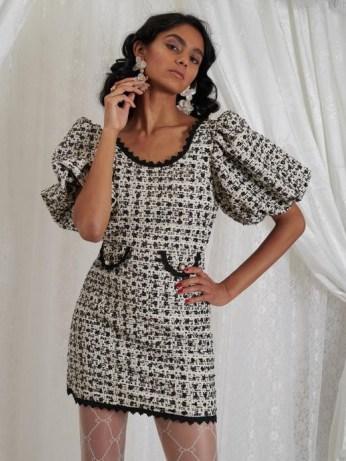 sister jane DREAM GRANDMA'S HOUSE Edna Tweed Mini Dress in Black and Cream | sequinned puff sleeve dresses - flipped