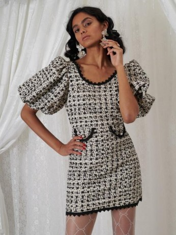 sister jane DREAM GRANDMA'S HOUSE Edna Tweed Mini Dress in Black and Cream | sequinned puff sleeve dresses