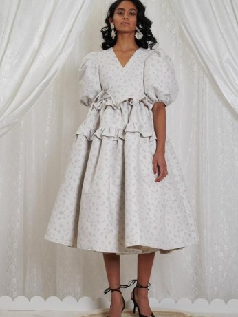 sister jane DREAM Betsy Jacquard Midi Wrap Dress in Cool Grey | puff sleeve dresses with volume | romantic voluminous fashion | - flipped