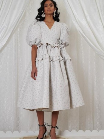 sister jane DREAM Betsy Jacquard Midi Wrap Dress in Cool Grey | puff sleeve dresses with volume | romantic voluminous fashion |