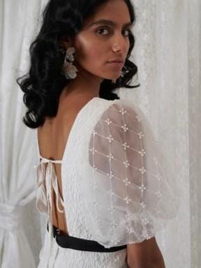 sister jane DREAM GRANDMA'S HOUSE Edith Pearl Mini Dress in White and Black   sheer puff sleeve square neck dresses