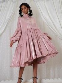 sister jane DREAM Potpourri Oversized Midi Dress in Canyon Sunset / voluminous tiered satin dresses / romantic fashion