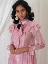 sister jane DREAM GRANDMA'S HOUSE Beatrice Organza Midi Dress Primrose Pink / high neck ruffle trim dresses / romantic style fashion / luxe vintage style clothing