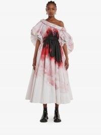 Alexander McQueen Dropped shoulder Anemone Print dress in Pink | voluminous puff sleeve dresses | asymmetric neckline occasion fashion | designer statement event wear