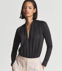 Reiss EDITH METALLIC PLUNGE-NECK BODYSUIT BLACK METALLIC – shimmering front gathered bodysuits – glamorous plunging tops