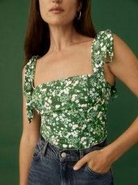 REFORMATION Ellora Top in Autumnal / green tie shoulder strap square neck tops
