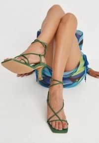 MISSGUIDED emerald asymmetric strappy toe post mid heel sandals – green ankle strap heels