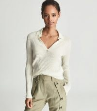 REISS EMMERSON ALPACA BLEND RUGBY TOP CREAM ~ essential luxe knitwear ~ womens casual knitted tops