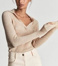 EMMERSON ALPACA BLEND RUGBY TOP OATMEAL | womens neutral knitted pullover tops | womens chic knitwear