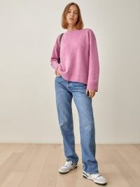 Reformation Enda Easy Crew in Peony   pink relaxed fit soft feel jumpers   womens slouchy drop shoulder crew neck sweaters   women's luxe style knitwear