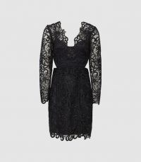 REISS ERICA LACE BODYCON DRESS BLACK ~ semi sheer LBD ~ side cut out cocktail dresses ~ chic occasion clothing ~ feminine occasionwear