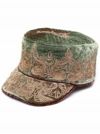 ETRO paisley-embroidered velvet hat – luxe peaked hats – womens chic accessories