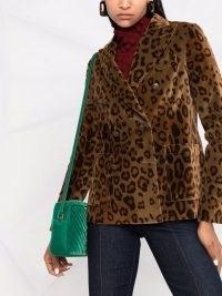 ETRO double-breasted leopard blazer – glamorous animal print blazers – womens glam jackets