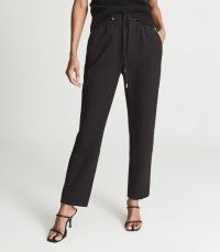REISS EVE PULL ON FORMAL JOGGERS BLACK ~ women's drawstring waist jogging bottoms ~ essential casual style