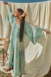 SPELL FARRAH HALF MOON GOWN AQUA ~ wide sleeve bohemian dresses ~ flowing boho gowns