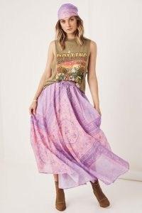 SPELL FARRAH HALF MOON SKIRT Lilac | floaty floral boho skirts | bohemian organic cotton fashion