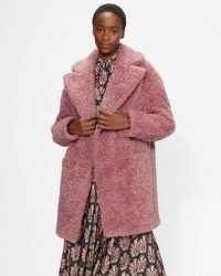 TED BAKER KAYYTI Faux fur cocoon coat in Pink / womens textured winter coats